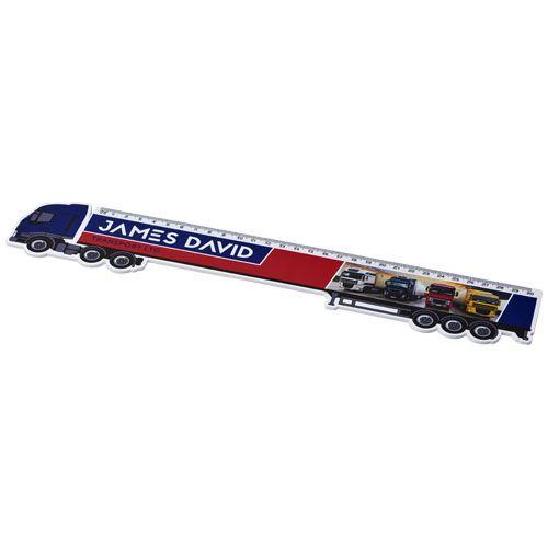 Kantoorartikelen bedrukken Loki 30 cm kunststof liniaal met vrachtwagenvorm 21058200