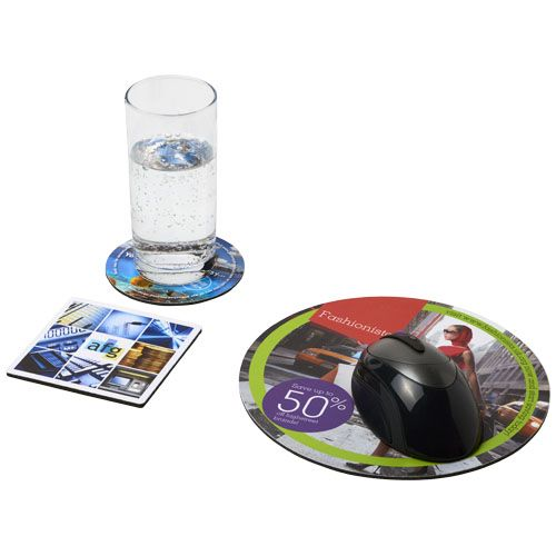 Computer gadgets bedrukken Q-Mat® driedelige combiset van muismat en onderzetter 4 21059900