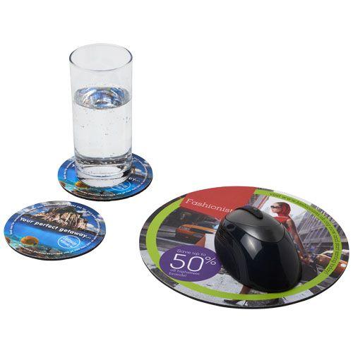 Computer gadgets bedrukken Q-Mat® driedelige combiset van muismat en onderzetter 5 21060800