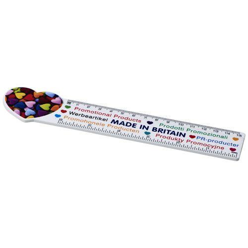 Kantoorartikelen bedrukken Loki 15 cm kunststof liniaal met hartjesvorm 21061100