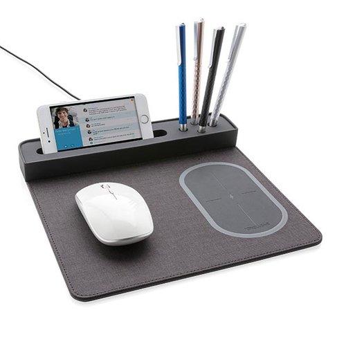 Opladers bedrukken Air muismat met 5W draadloze oplader en USB P308.251 bedrukt