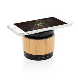 Speakers bedrukken Bamboe 3W speaker met draadloze oplader P329.179