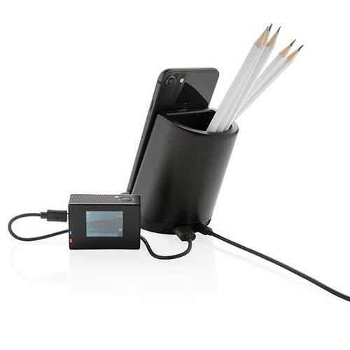 Powerbank bedrukken Light up logo pen houder met 5W draadloze oplader P308.791