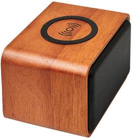 Speakers bedrukken Houten speaker met draadloos oplaadstation