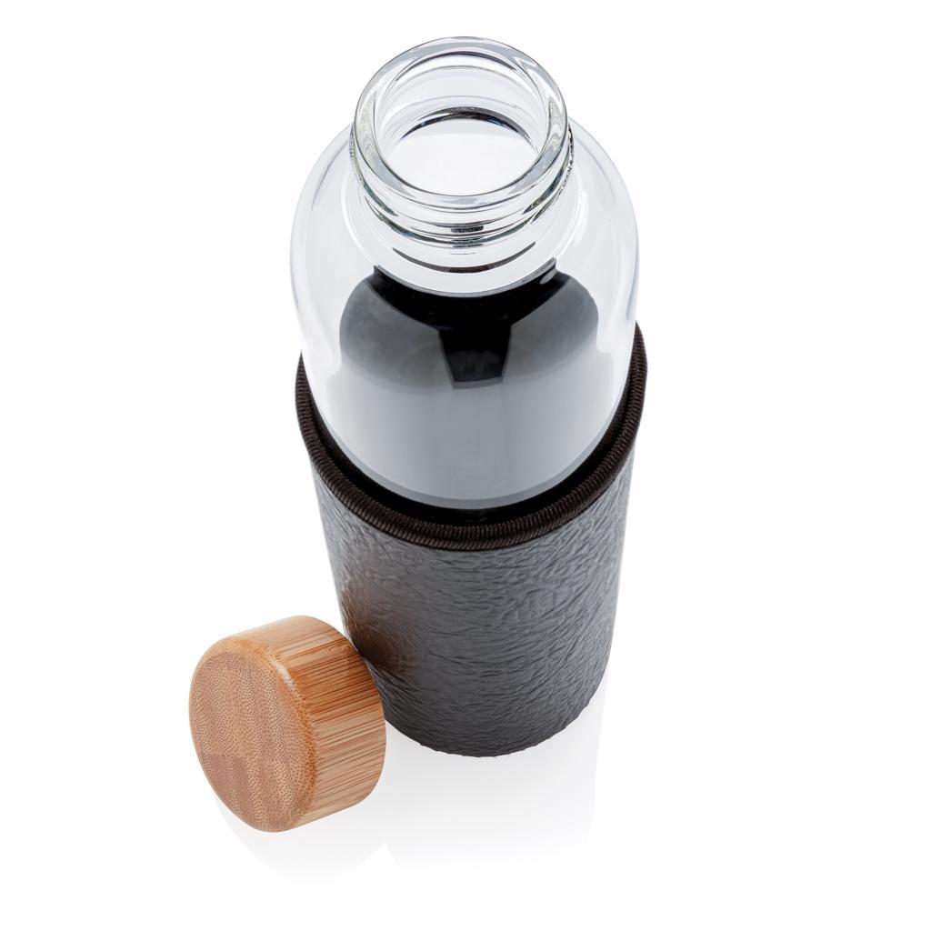 Waterflessen bedrukken Glazen fles met PU sleeve P436.291