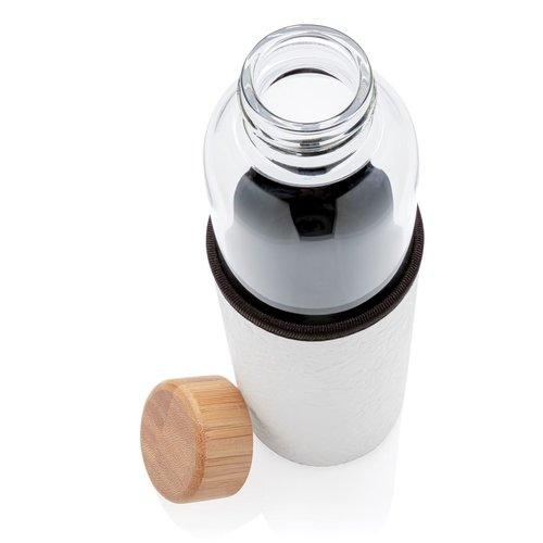 Waterflessen relatiegeschenk Glazen fles met PU sleeve P436.291