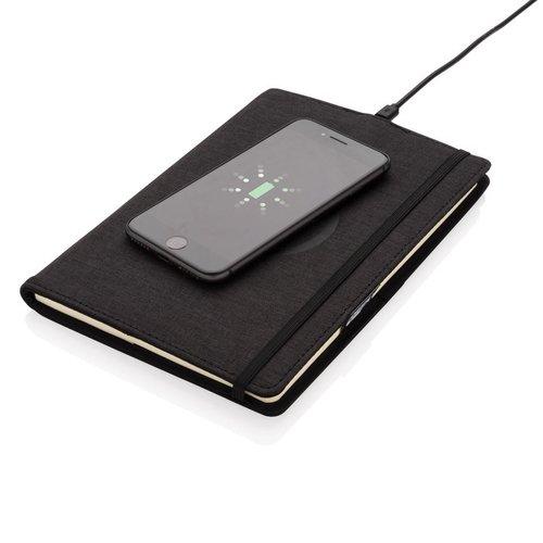 Notitieboekjes bedrukken Air 5W rPET navulbaar A5 notitieboek  & draadloze oplader P774.061