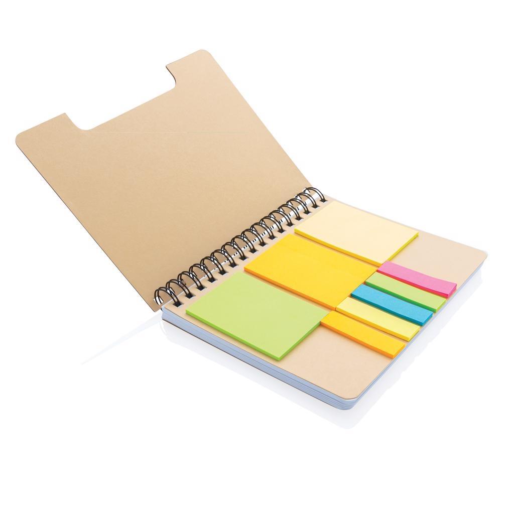 Notitieboekje bedrukken 'A5 Kraft spiraal notitieboek met memo''s P772.119'