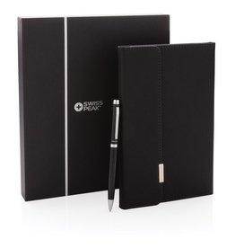 Notitieboekjes bedrukken Schrijfmap bedrukken - Swiss Peak deluxe A5 notitieboek en pen set P772.921