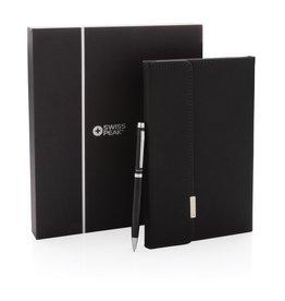 Notitieboekjes bedrukken als relatiegeschenk Notitieboek Swiss peak deluxe A5 pen set