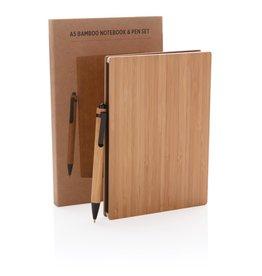 Notitieboekjes bedrukken A5 Bamboe notitieboek & pen set P772.159