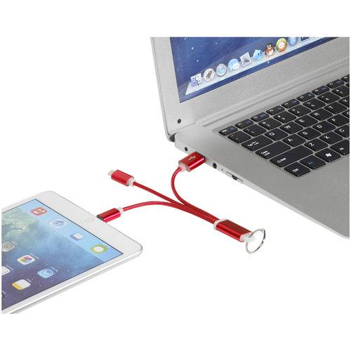 Smartphone accessoires bedrukken Metalen 3-in-1 oplaadkabel met sleutelhanger