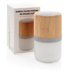 Speakers bedrukken Draadloze bamboe 3W speaker met sfeerlicht P329.34