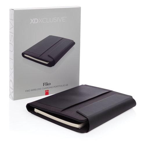 Schrijfmappen bedrukken Fiko A5 portfolio met draadloos opladen & 5000mAh powerbank P774.081