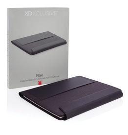 Schrijfmappen bedrukken Fiko A4 portfolio met draadloos opladen& 5.000 mAh powerbank P774.07