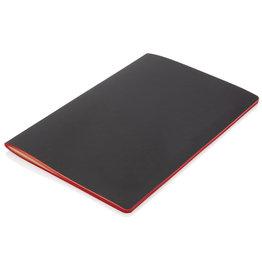 Notitieboekjes bedrukken Softcover PU notitieboek met gekleurde accent rand - P774.025