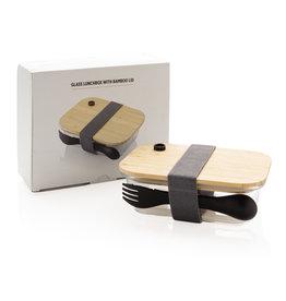 Broodtrommel relatiegeschenk Glazen lunchbox met bamboe deksel P269.560