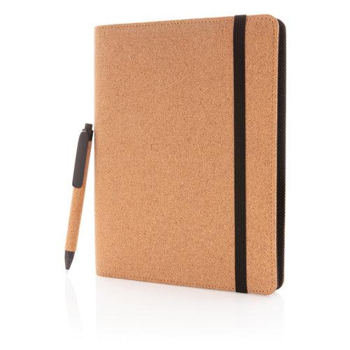 Schrijfmappen bedrukken Deluxe kurken A5 portfolio met pen P774.121
