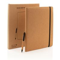 Schrijfmappen bedrukken Deluxe kurken A4 portfolio met pen P774.131