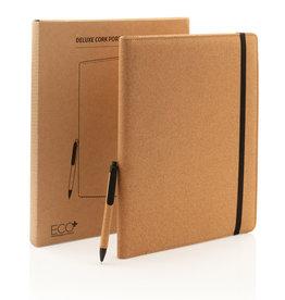 Schrijfmappen bedrukken Deluxe kurken A4 portfolio met pen P774.13