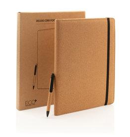 Schrijfmappen bedrukken als relatiegeschenk Portfolio Deluxe kurken A4 met pen