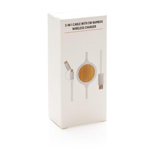 Opladers bedrukken als relatiegeschenk 3 in 1 bamboe oplaadkabel met 5W draadloze oplader P302.25