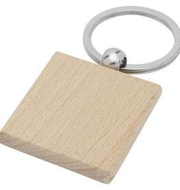 Sleutelhangers bedrukken Gioia beukenhouten vierkante sleutelhanger