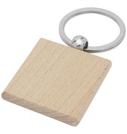 Sleutelhangers relatiegeschenk Gioia beukenhouten vierkante sleutelhanger