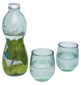 Glazen relatiegeschenk Brisa 3-delige glazenset van gerecycled glas
