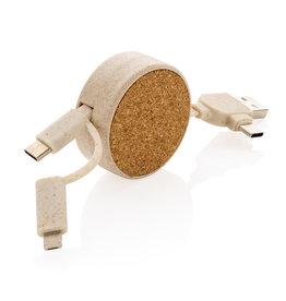 Smartphone accessoires bedrukken Kurk 6-in-1 oprolbare kabel
