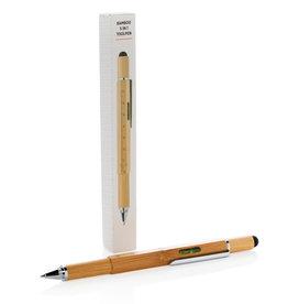Gereedschap en multitools relatiegeschenk Bamboe 5 in 1 toolpen