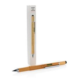 Tools relatiegeschenk Bamboe 5 in 1 toolpen