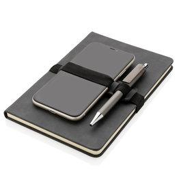 Notitieboekjes bedrukken Deluxe hardcover PU A5 notitieboek met telefoon- en penhouder