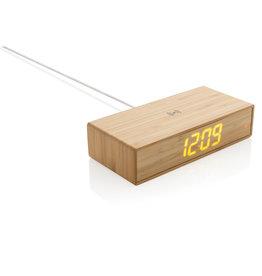 Opladers bedrukken Bamboe alarmklok met 5W draadloze oplader
