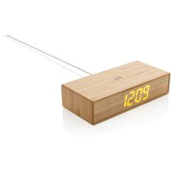 Opladers relatiegeschenk Bamboe alarmklok met 5W draadloze oplader