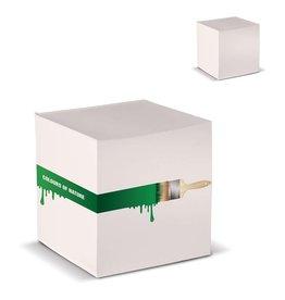 Memoblokken relatiegeschenk Kubusblok recycled papier 10x10x10cm