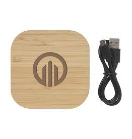 Opladers bedrukken als relatiegeschenk Bamboo 5W Wireless Charger draadloze oplader 8246