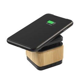 Speakers relatiegeschenk Bamboo Block Speaker met draadloze oplader 5893