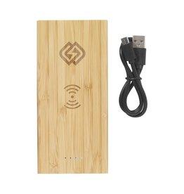 Powerbank relatiegeschenk Bamboo 8000 Wireless Powerbank draadloze oplader 6456