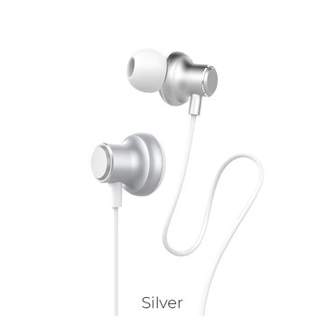 Hoco Hoco Magic Sound silver wired earphones with microphone