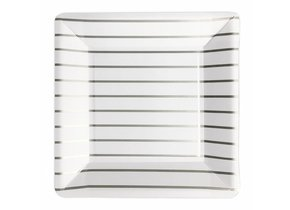 SQUARE PLATES SILVER STRIPED
