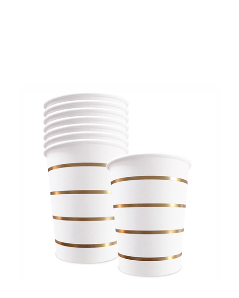 8 GOLD STRIPED CUPS
