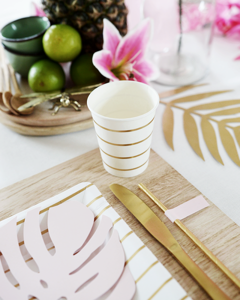 GOLD STRIPED FOOD CUPS