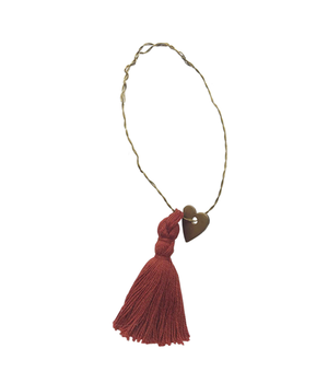 5 WIRE ORNAMENTS RUSTY RED TASSEL