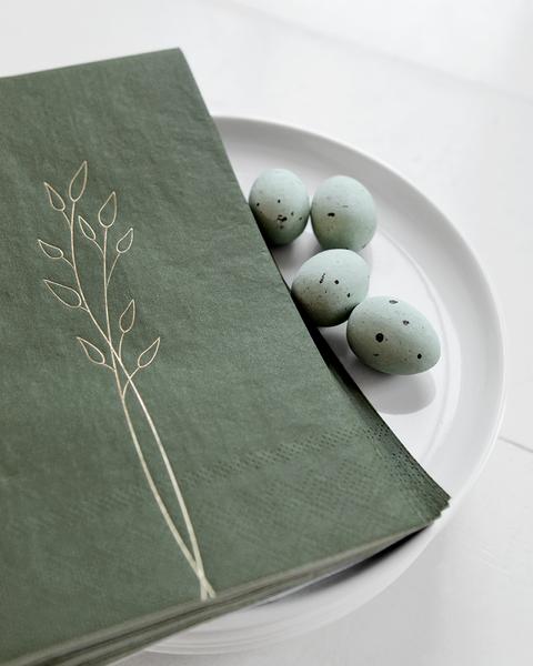 10 GREEN PAPER ORNAMENTS