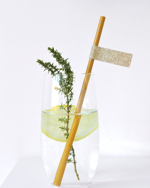 OCHRE STRAWS  WITH SPARKLING GOLD STICKERS