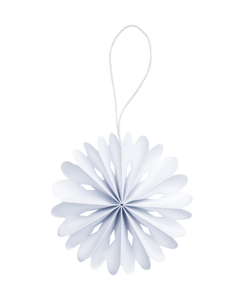 10 FROSTY WHITE PAPER FLOWER ORNAMENT