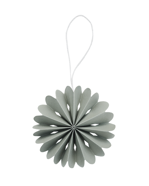 10 OLIVE GREEN PAPER FLOWER ORNAMENTS