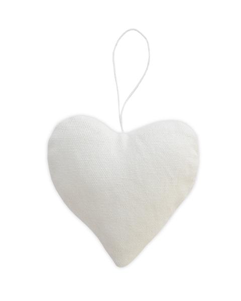 5 COTTON WHITE FABRIC HEART ORNAMENTS