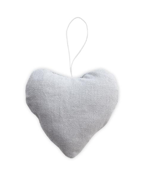 5 GRAY LIGHT FABRIC HEART ORNAMENTS